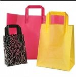 Color PE flat tape handle carrier bags
